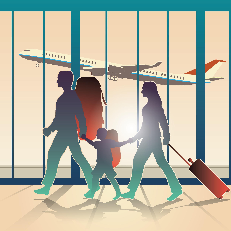 Familie i lufthavnen